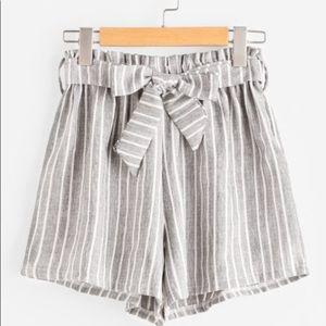Pants - Vertical Stripe Tie Front Shorts